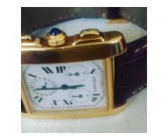 Relógio marca Cartier modelo tank Francês Cronógrafo caixa de ouro